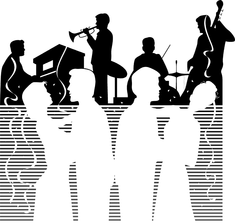 Illustration of people dancing with a band playing music.