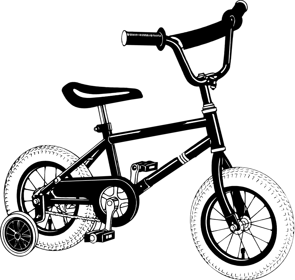 Illustration of a bike with training wheels : Free Stock Photo