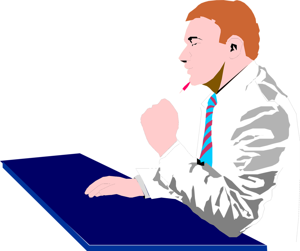 Illustration of a business man thinking : Free Stock Photo