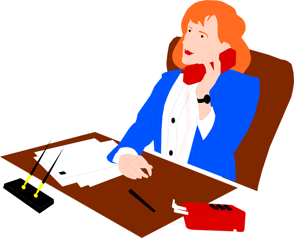 Illustration of a business woman on the phone : Free Stock Photo
