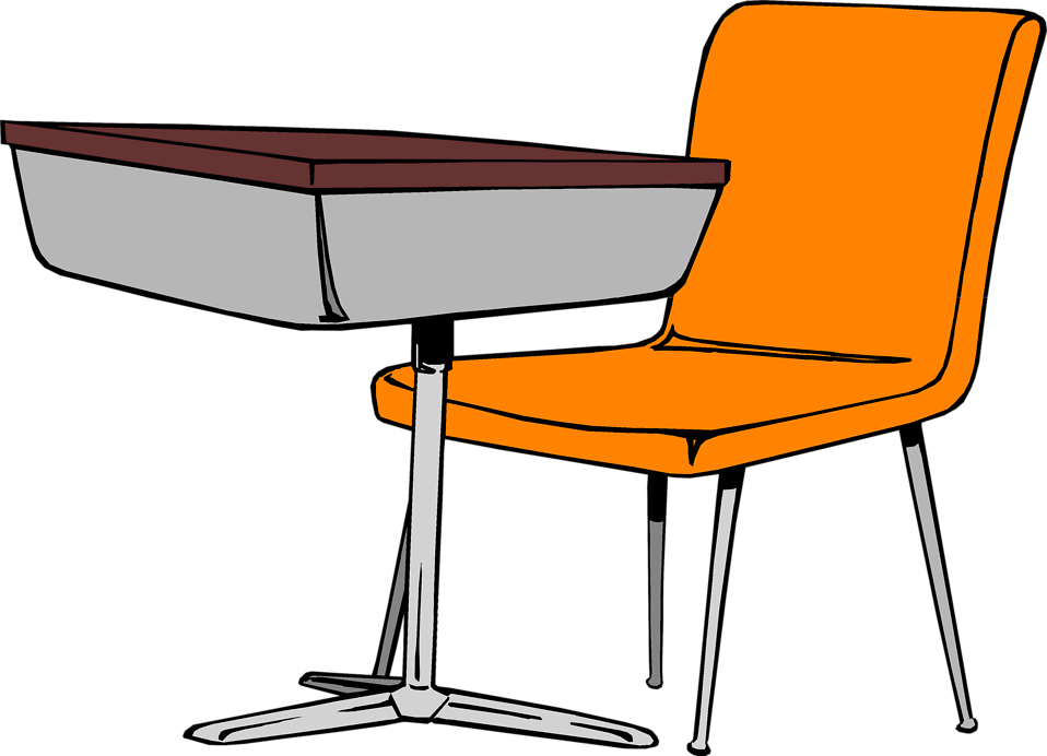Illustration of a student desk and chair : Free Stock Photo