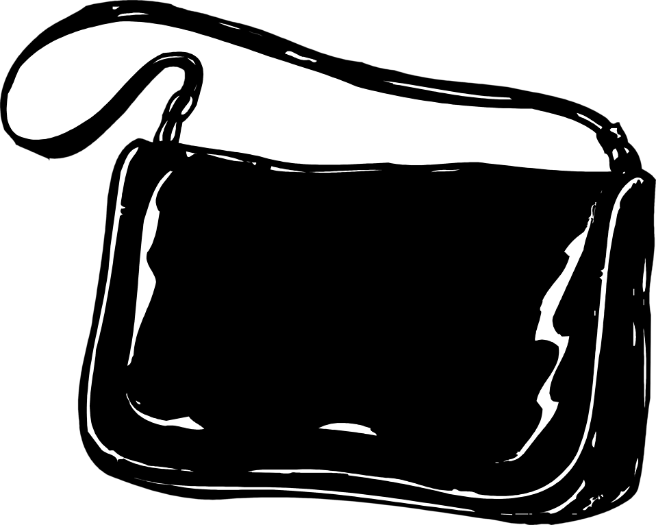 Purse | Free Stock Photo | Illustration of a black purse ... Purse Clipart Black And White