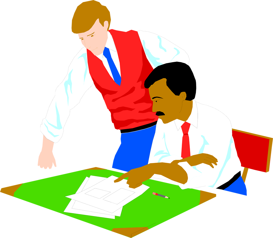 Illustration of two men looking at papers on a desk : Free Stock Photo