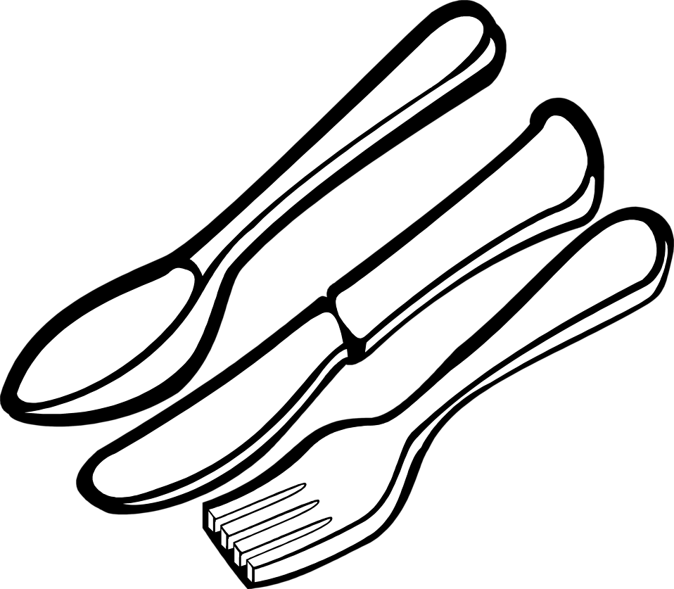 Knife And Fork Clipart Black And White Black And White Spoons Fork