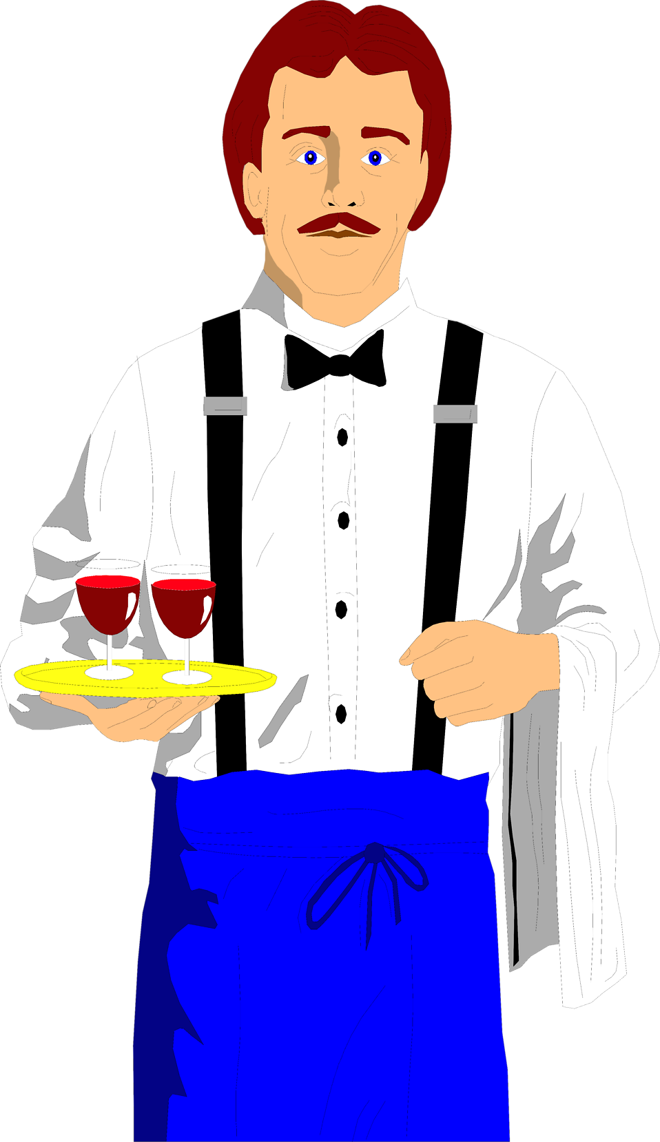Illustration of a waiter with wine glasses : Free Stock Photo
