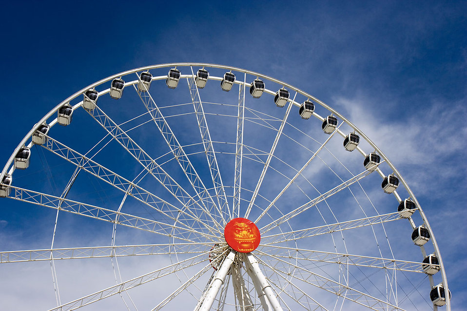 A large ferris wheel in an amusement park : Free Stock Photo