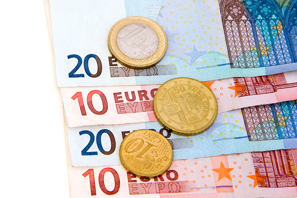 Euro bills and coins : Free Stock Photo