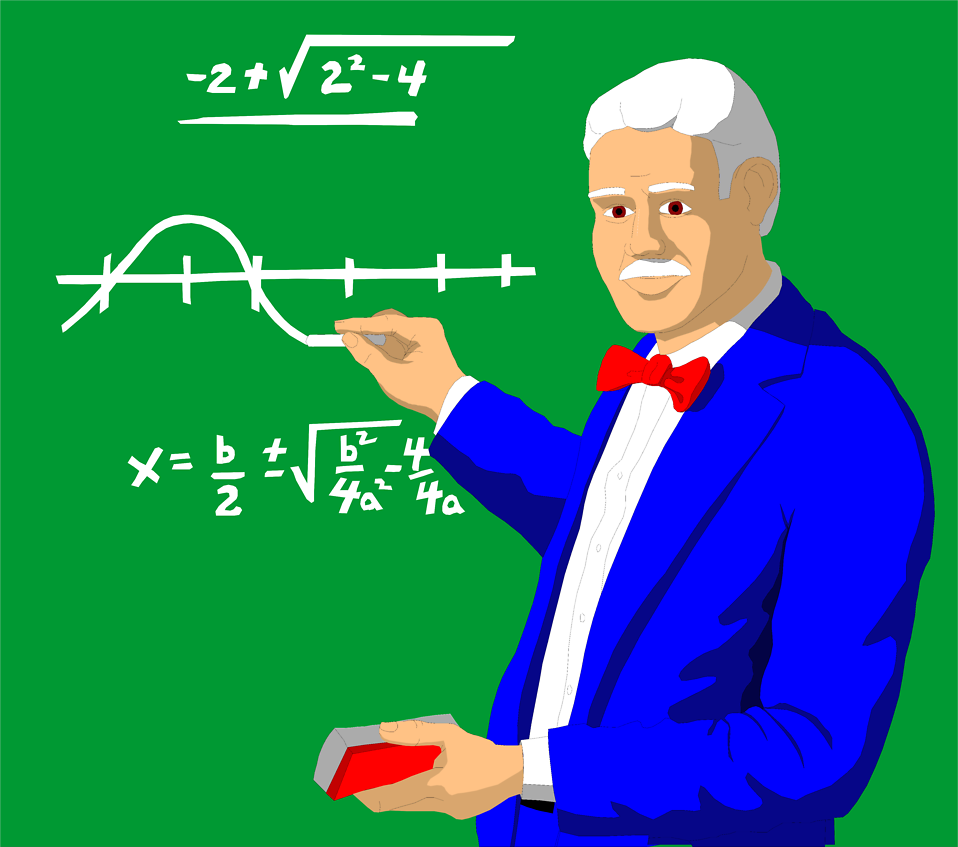 Illustration of a professor doing math on a chalk board : Free Stock Photo