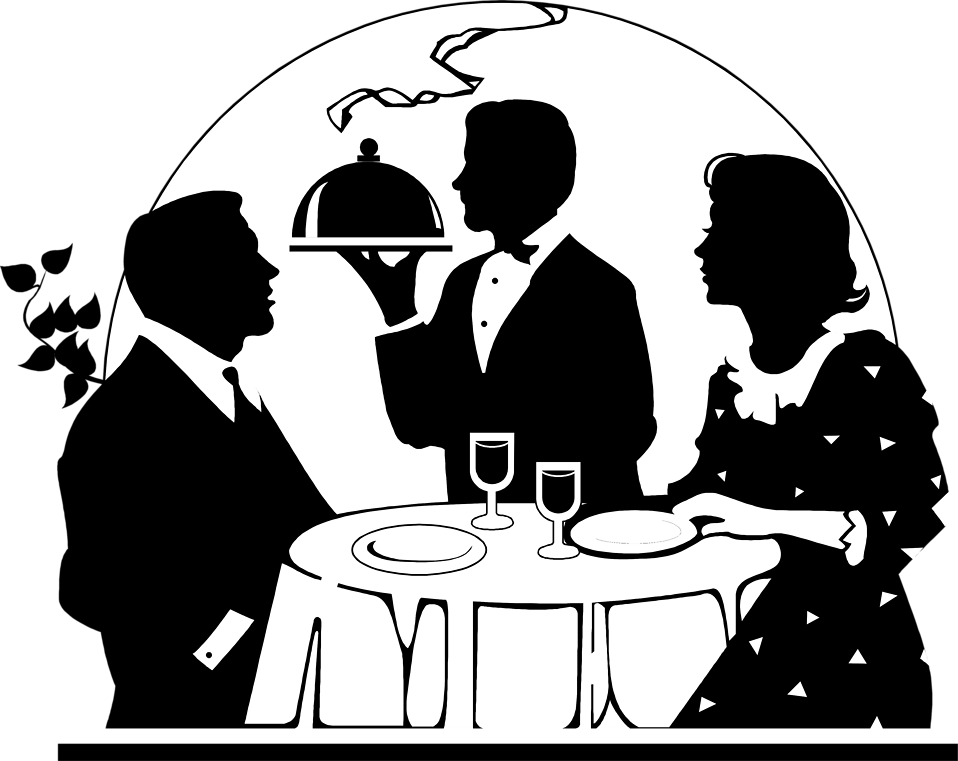 Illustration of a couple being served a romantic dinner : Free Stock Photo
