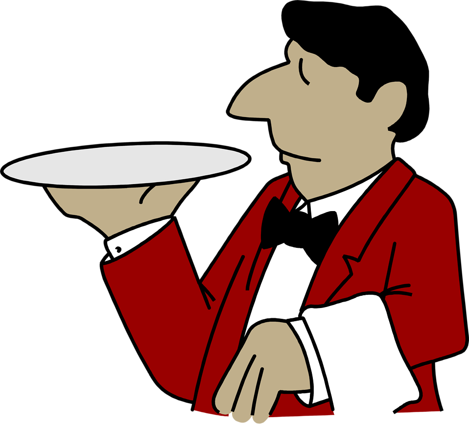 Illustration of a waiter with an emptry tray : Free Stock Photo