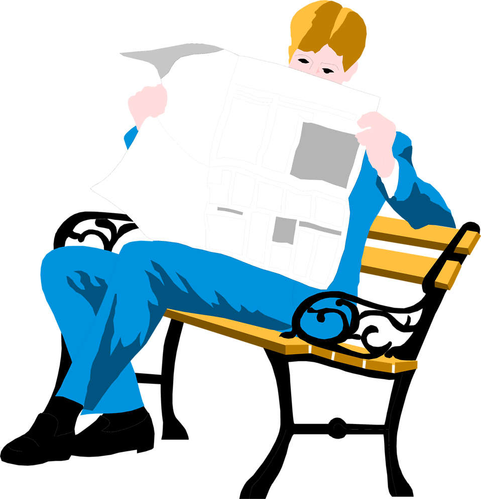 Illustration of a man reading a newspaper on a bench : Free Stock Photo