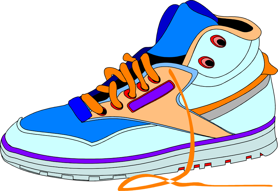 Illustration of a blue and orange sneaker : Free Stock Photo