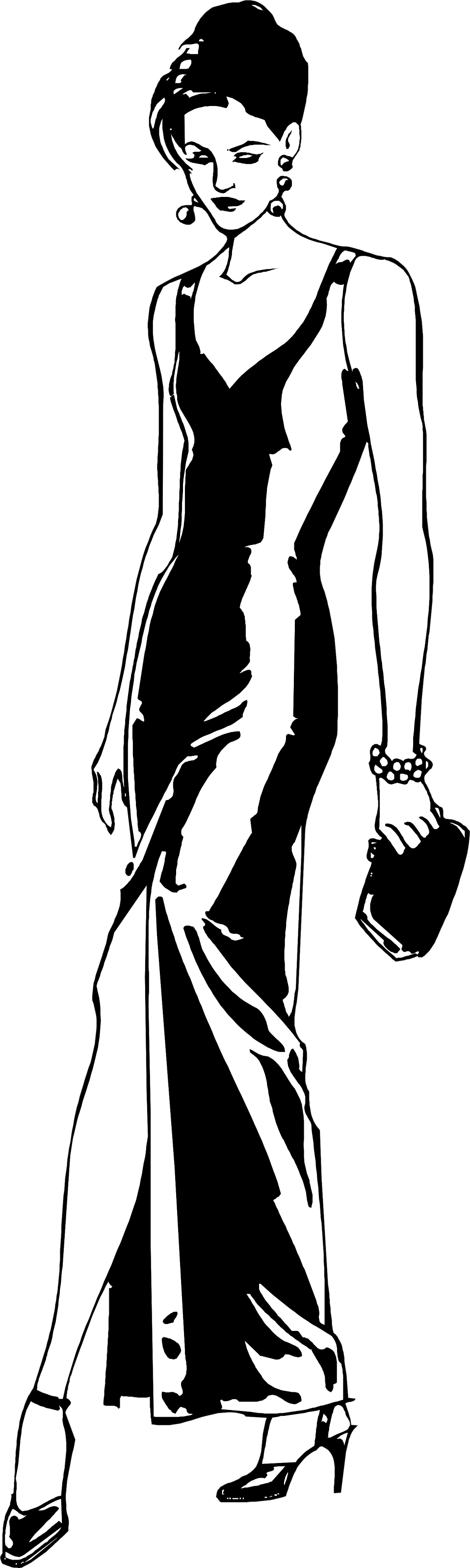 Illustration of a beautiful woman in a long black dress : Free Stock Photo