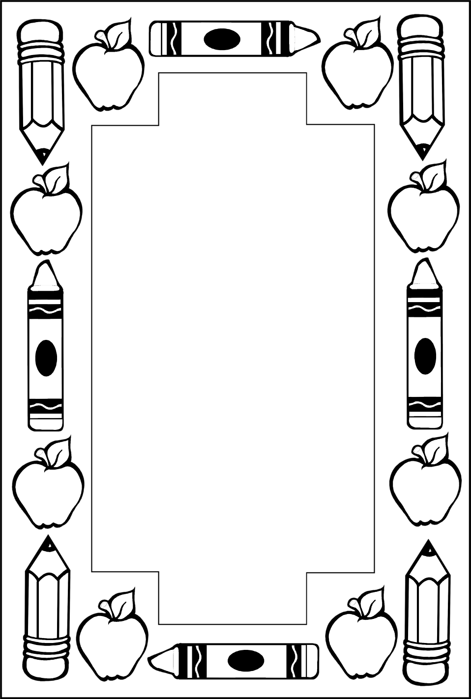 958 x 1423 · 90 kB · png, Black and White School Border Clip Art