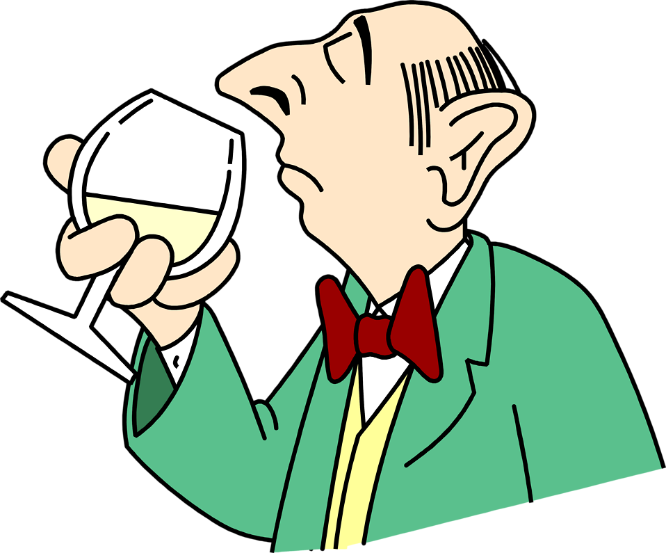 Illustration of a man sniffing a glass of wine : Free Stock Photo