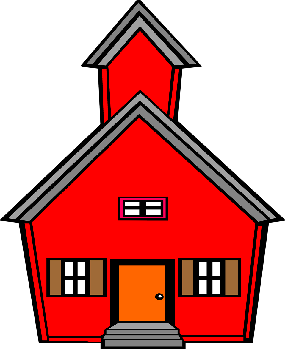 Illustration of a red school house : Free Stock Photo