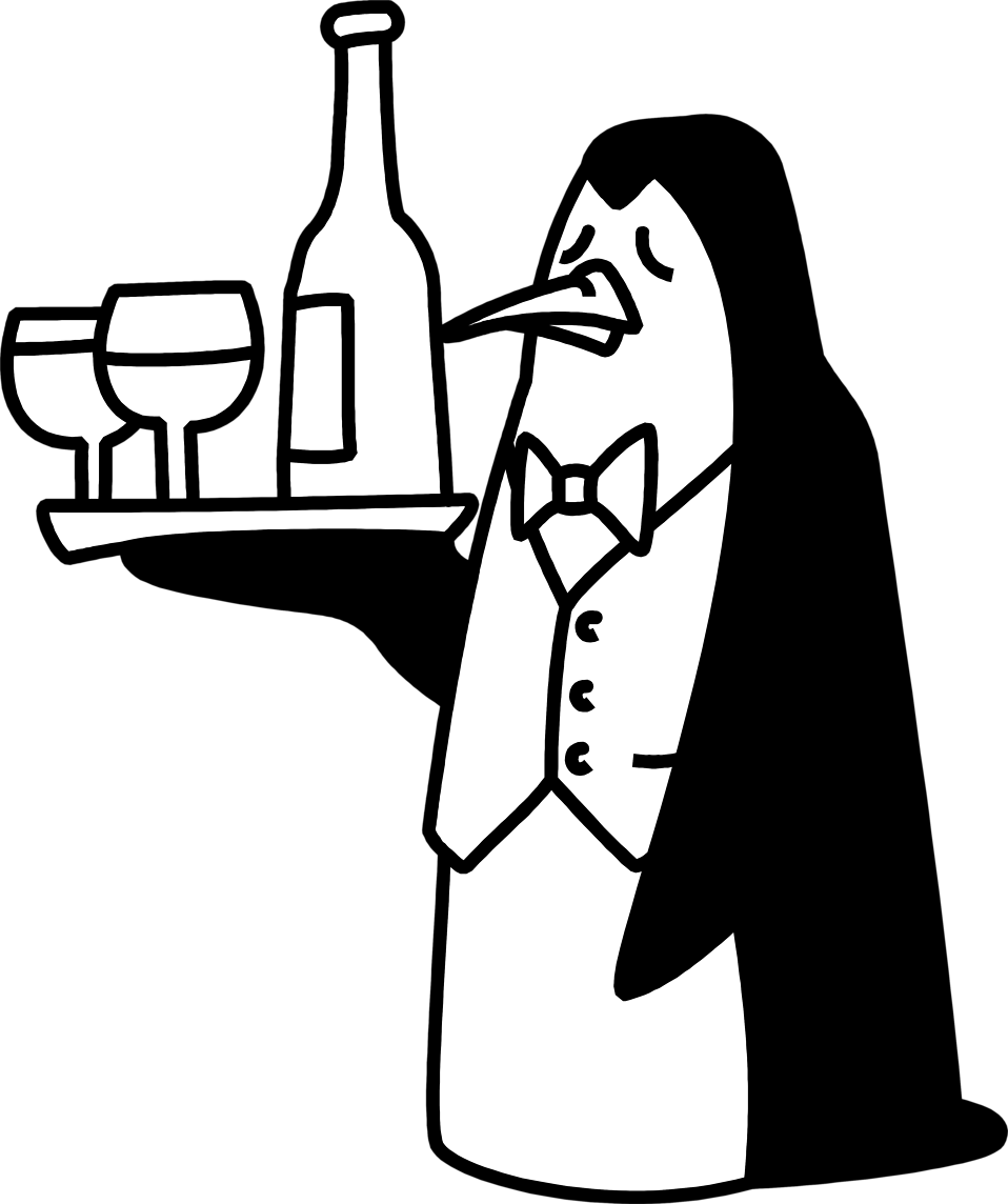 Illustration of a penguin waiter serving drinks on a tray : Free Stock Photo
