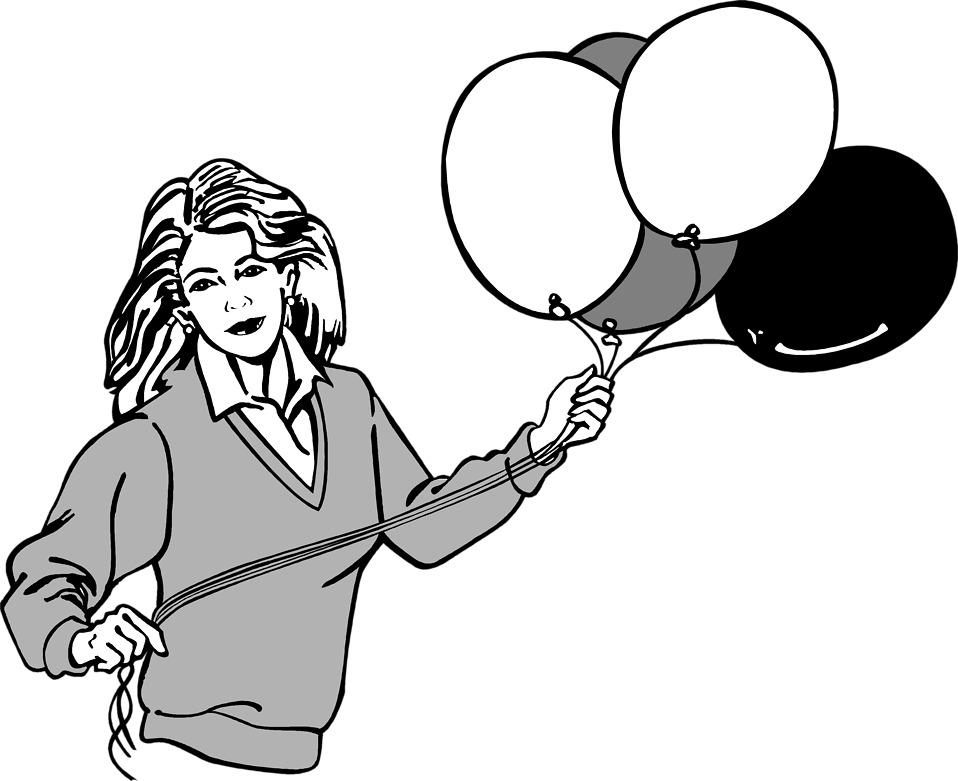 Illustration of a woman holding balloons : Free Stock Photo