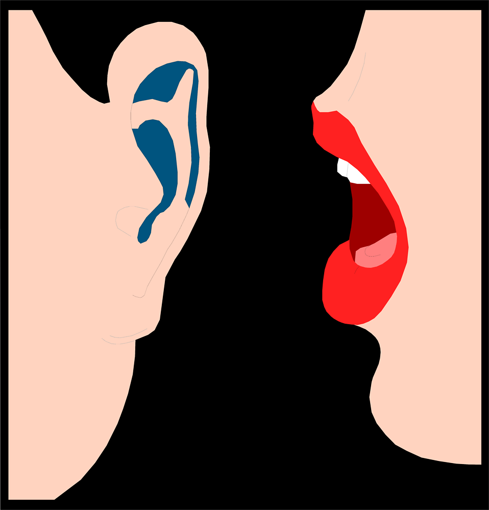 Illustration of lips whispering into an ear : Free Stock Photo