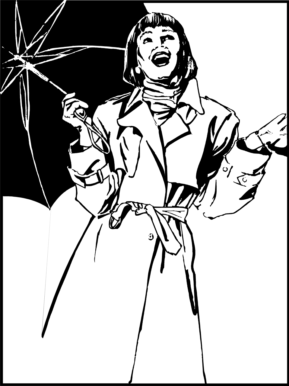 Illustration of a woman with a black umbrella : Free Stock Photo