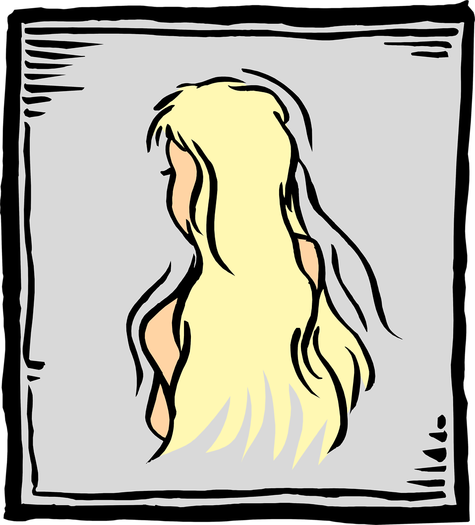 Illustration of a woman with long blonde hair : Free Stock Photo