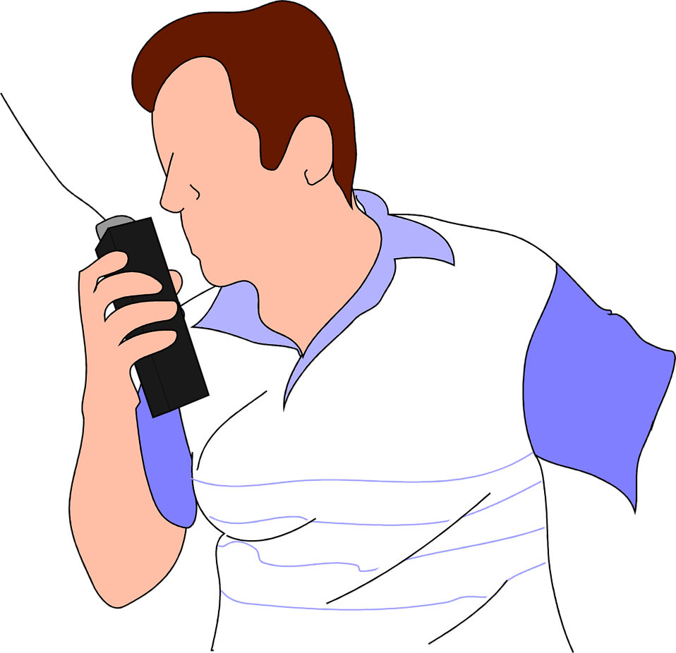 Illustration of a man with a walkie talkie : Free Stock Photo