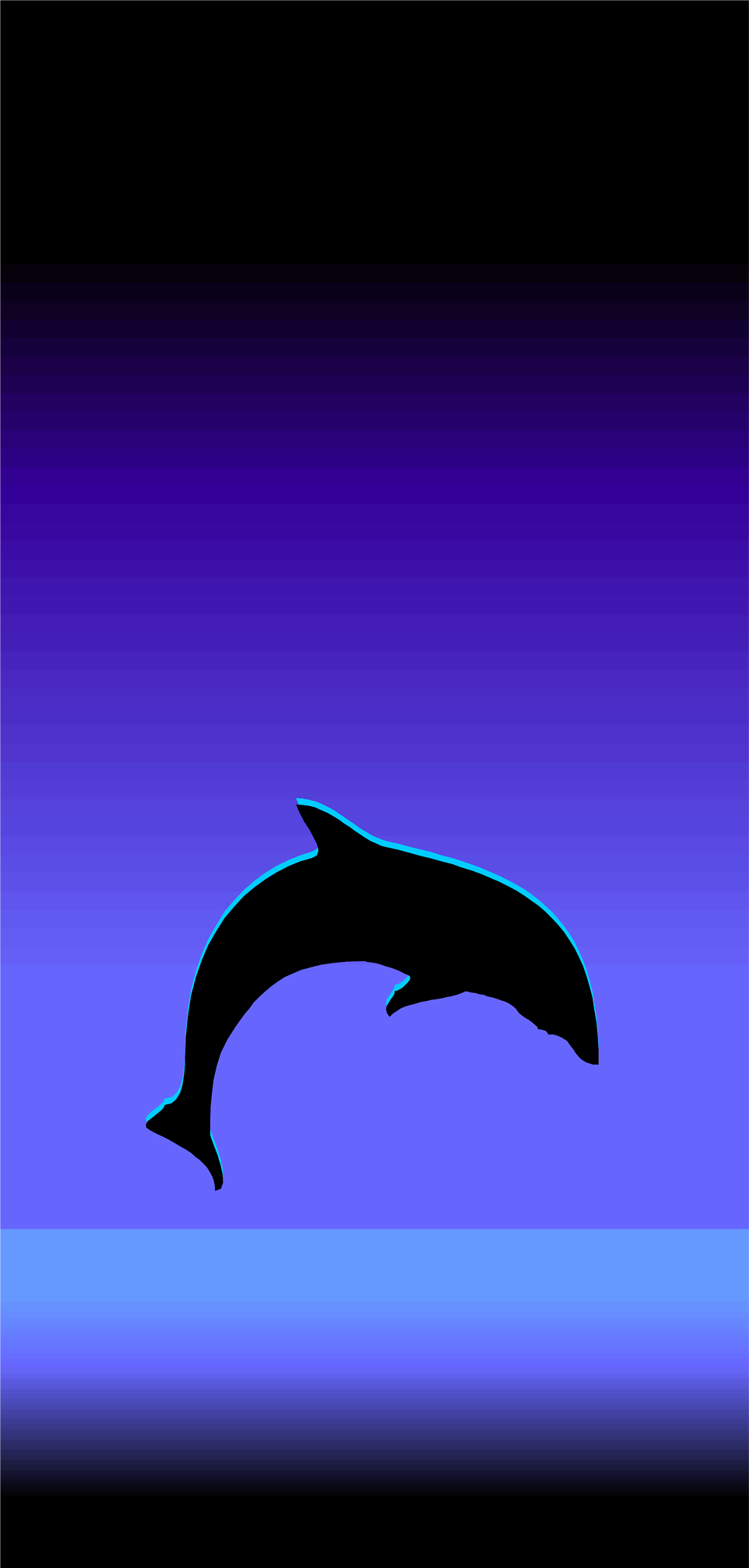 Illustration of a dolphin silhouette leaping out of the water : Free Stock Photo