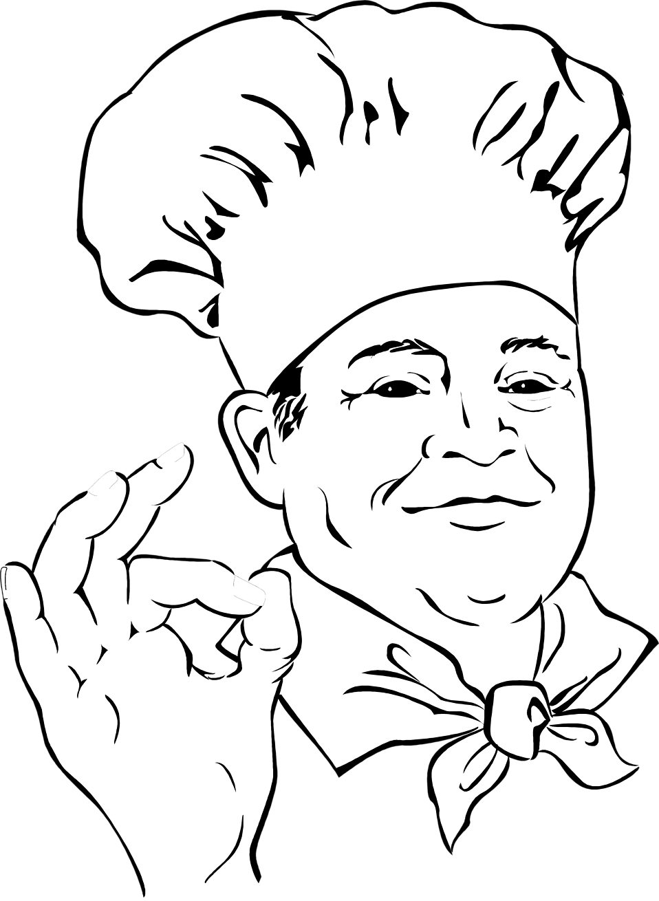 Illustration of a chef making an ok hand gesture : Free Stock Photo