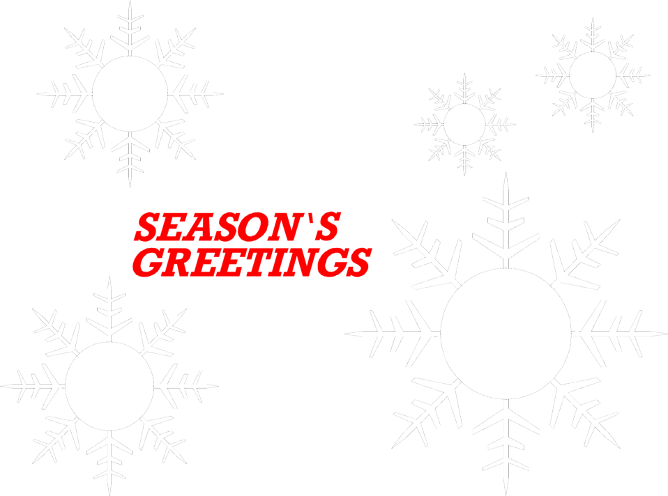 Illustration of snowflakes and seasons greetings text.