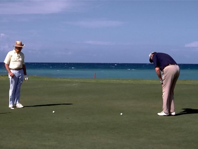 Illustration of two men putting on a golf green by the ocean : Free Stock Photo
