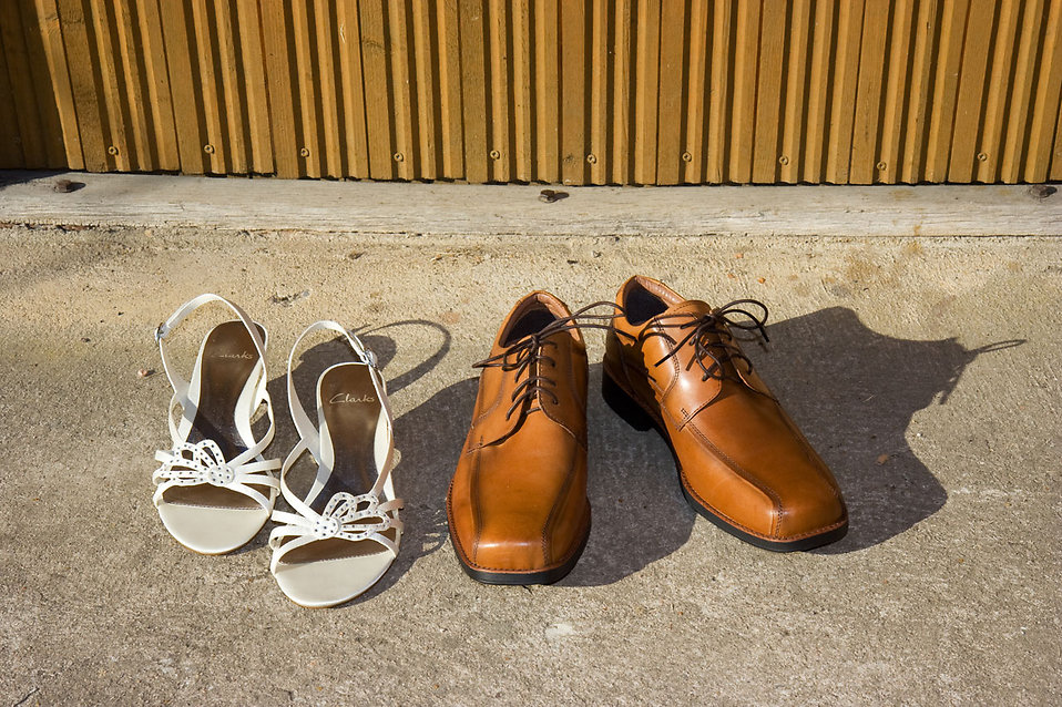 Two pairs of shoes on the ground : Free Stock Photo