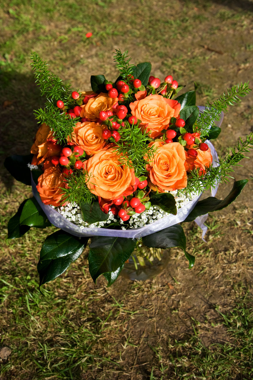 A bouquet of orange roses : Free Stock Photo