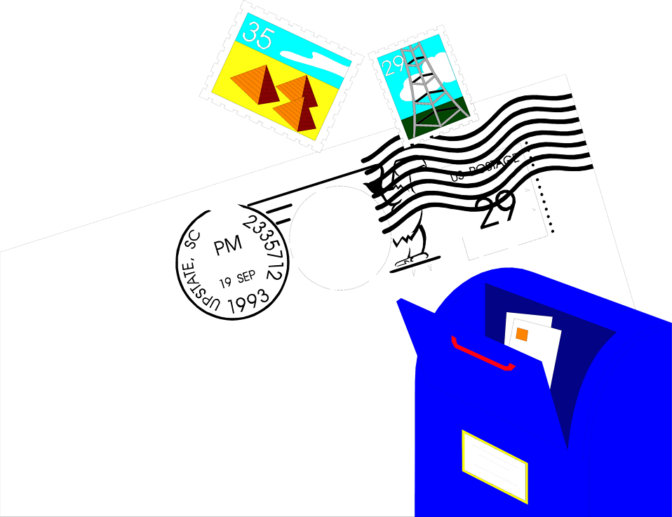 Illustration of stamps, mail and a mailbox.