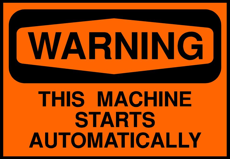 Illustration of machine warning sign : Free Stock Photo