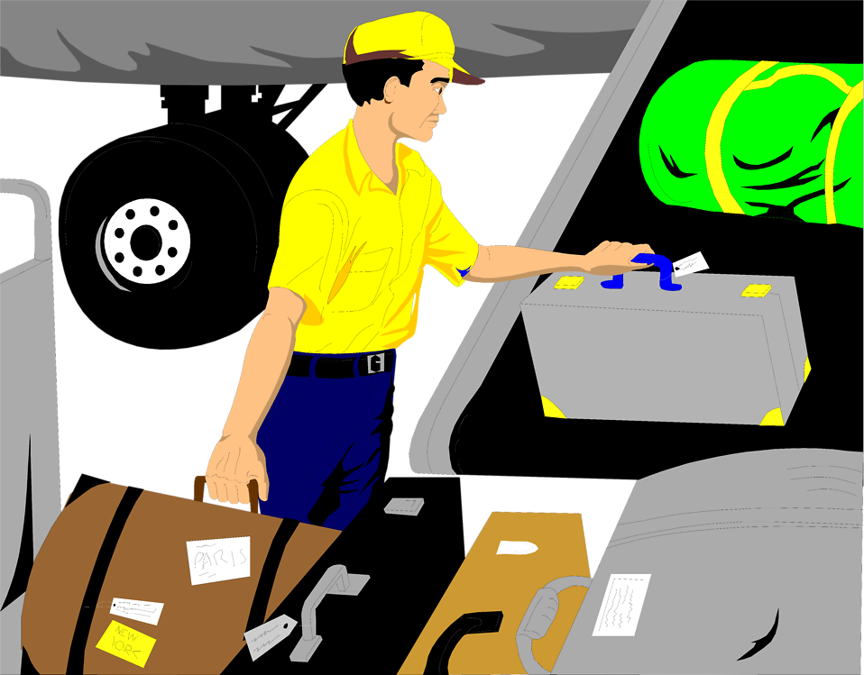Illustration of a baggage handler loading luggage onto an airplane : Free Stock Photo