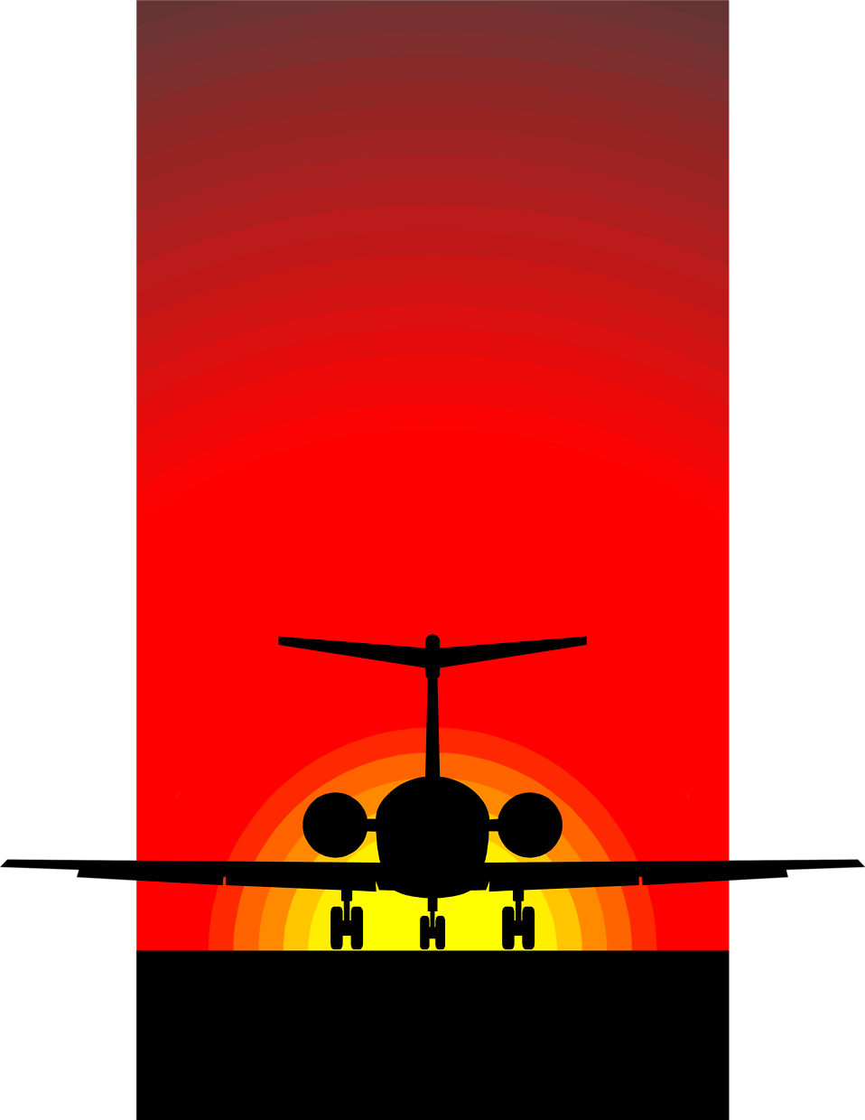 Illustration of a silhouette of an airplane in the sunset : Free Stock Photo
