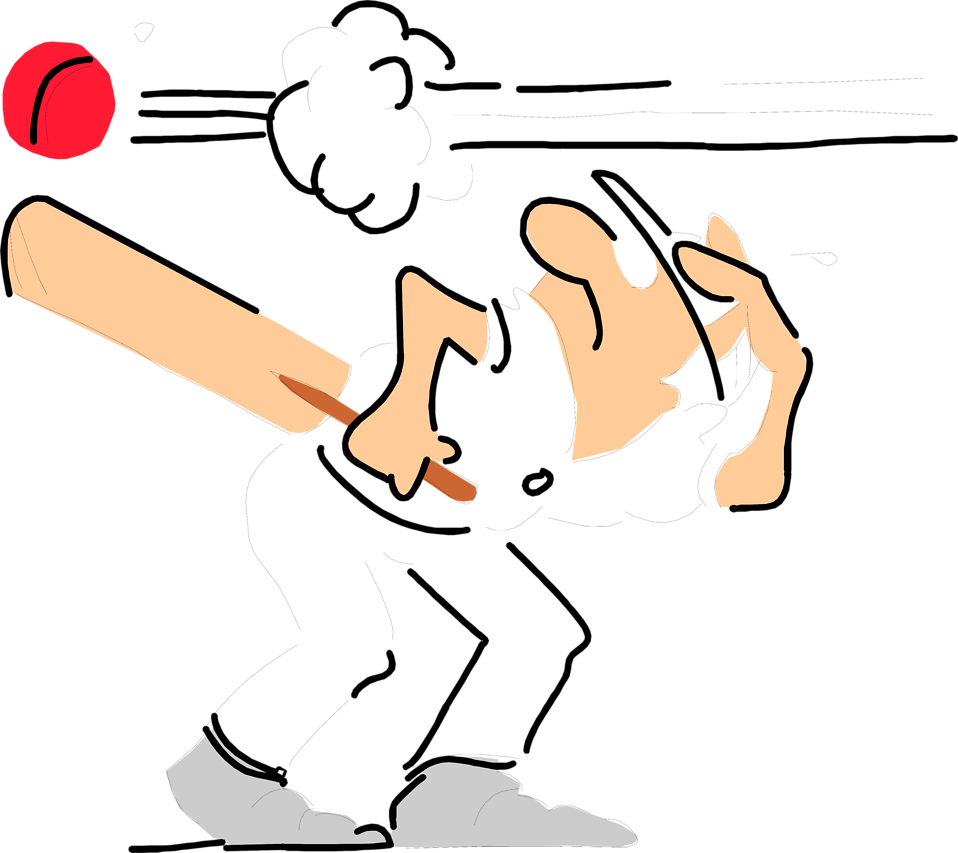 Illustration of a man dodging a cricket ball : Free Stock Photo