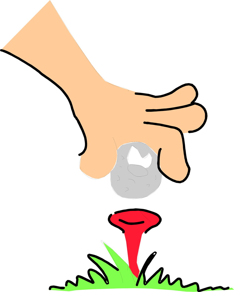 Illustration of an unhappy golf ball cartoon being placed on a tee : Free Stock Photo
