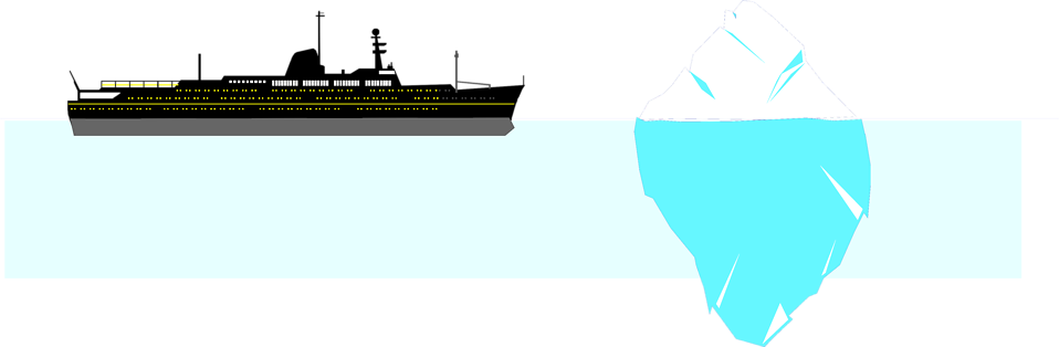 Illustration of a ship sailing by an iceberg : Free Stock Photo