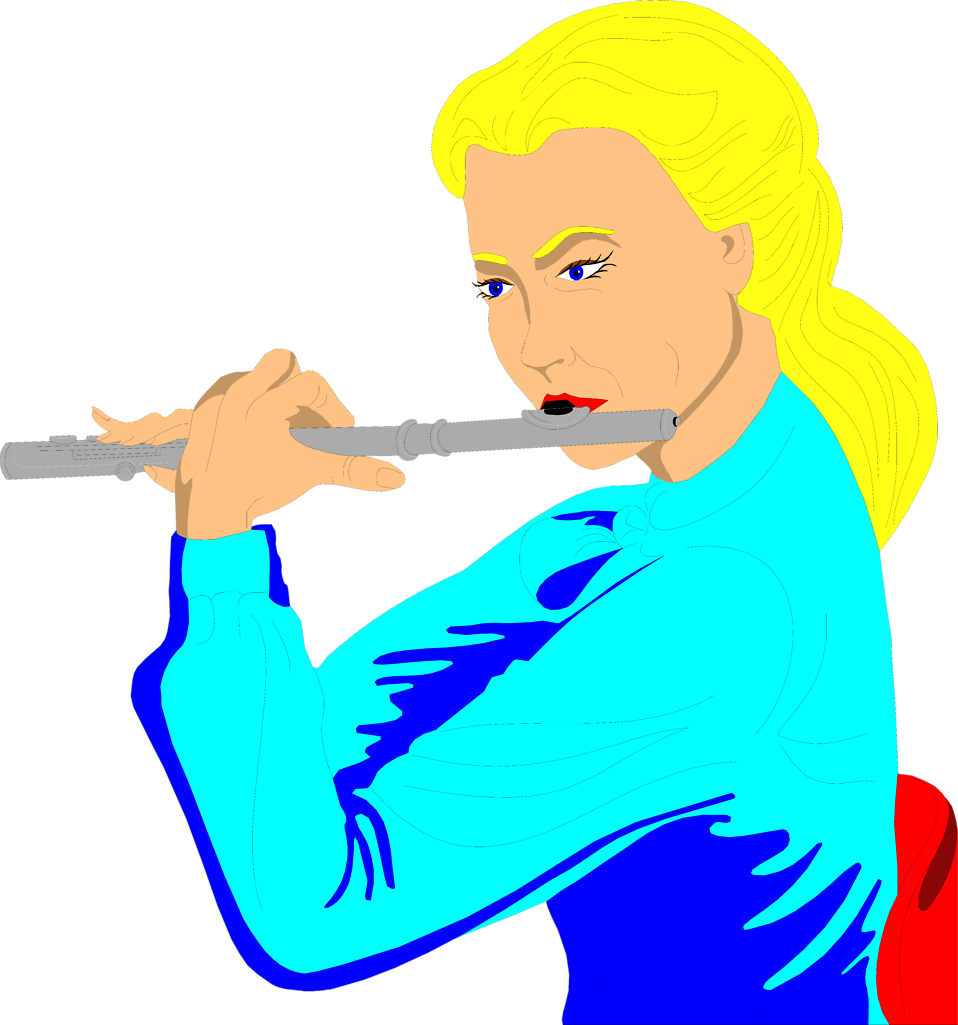 Illustration of a woman playing a flute : Free Stock Photo