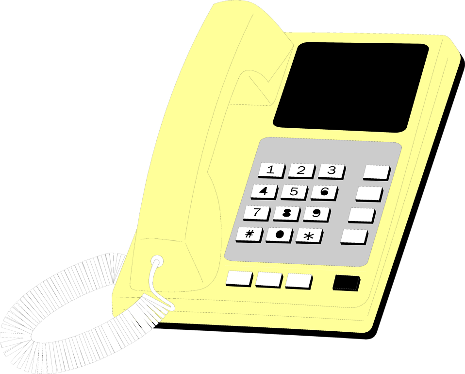 Illustration of a yellow telephone : Free Stock Photo