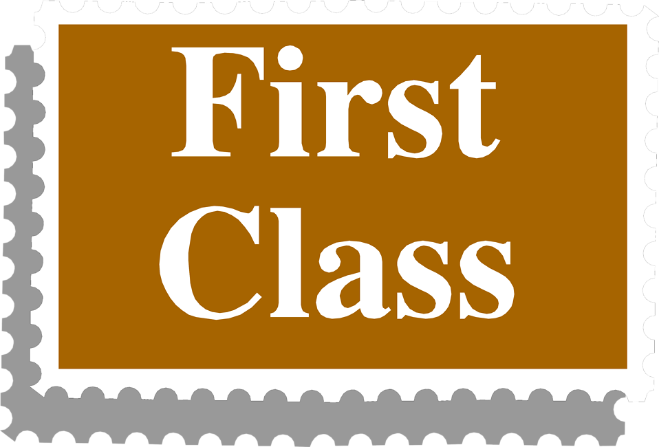 Illustration of a first class stamp with text : Free Stock Photo