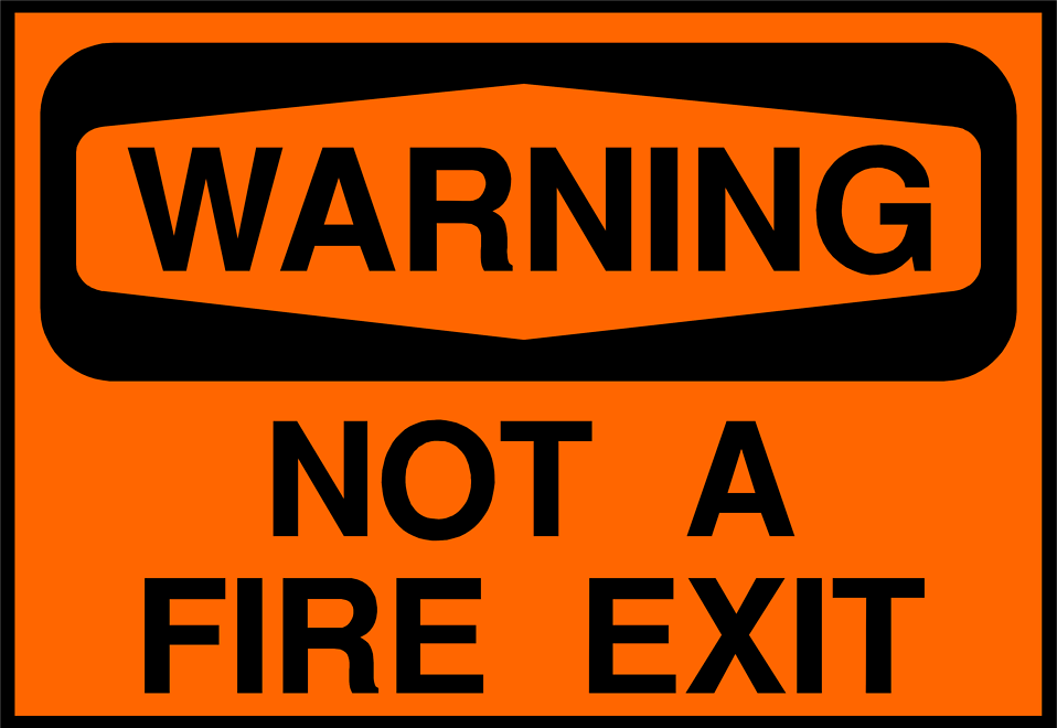 Illustration of no fire exit warning sign.