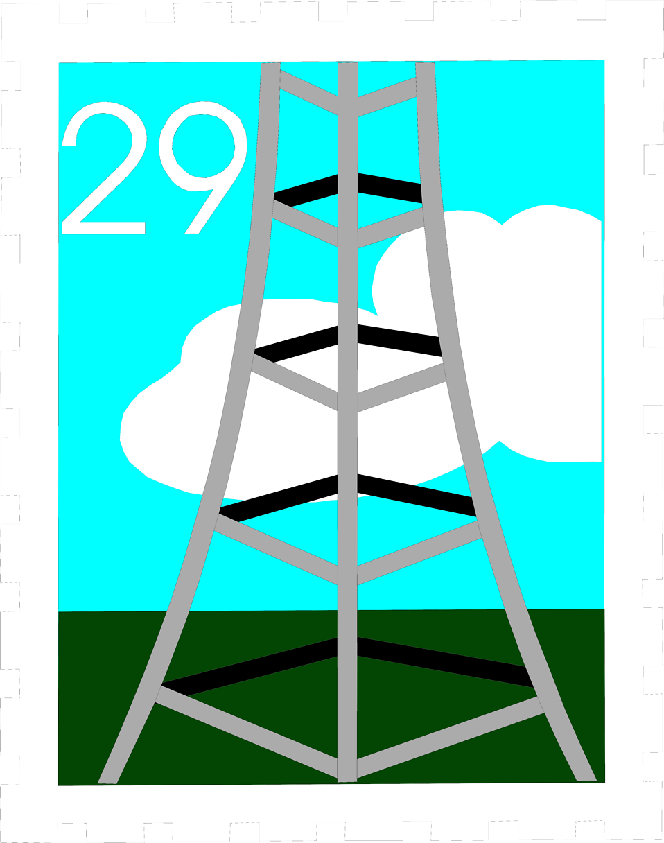 Illustration of a stamp with a tower design.