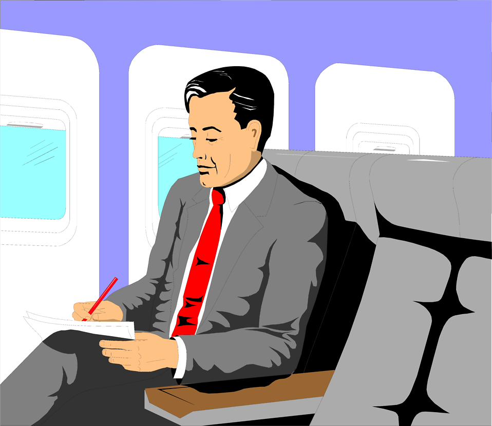 Illustration of a business man sitting in an airplane : Free Stock Photo
