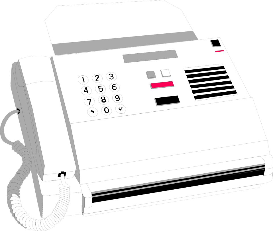 Illustration of a white fax machine : Free Stock Photo