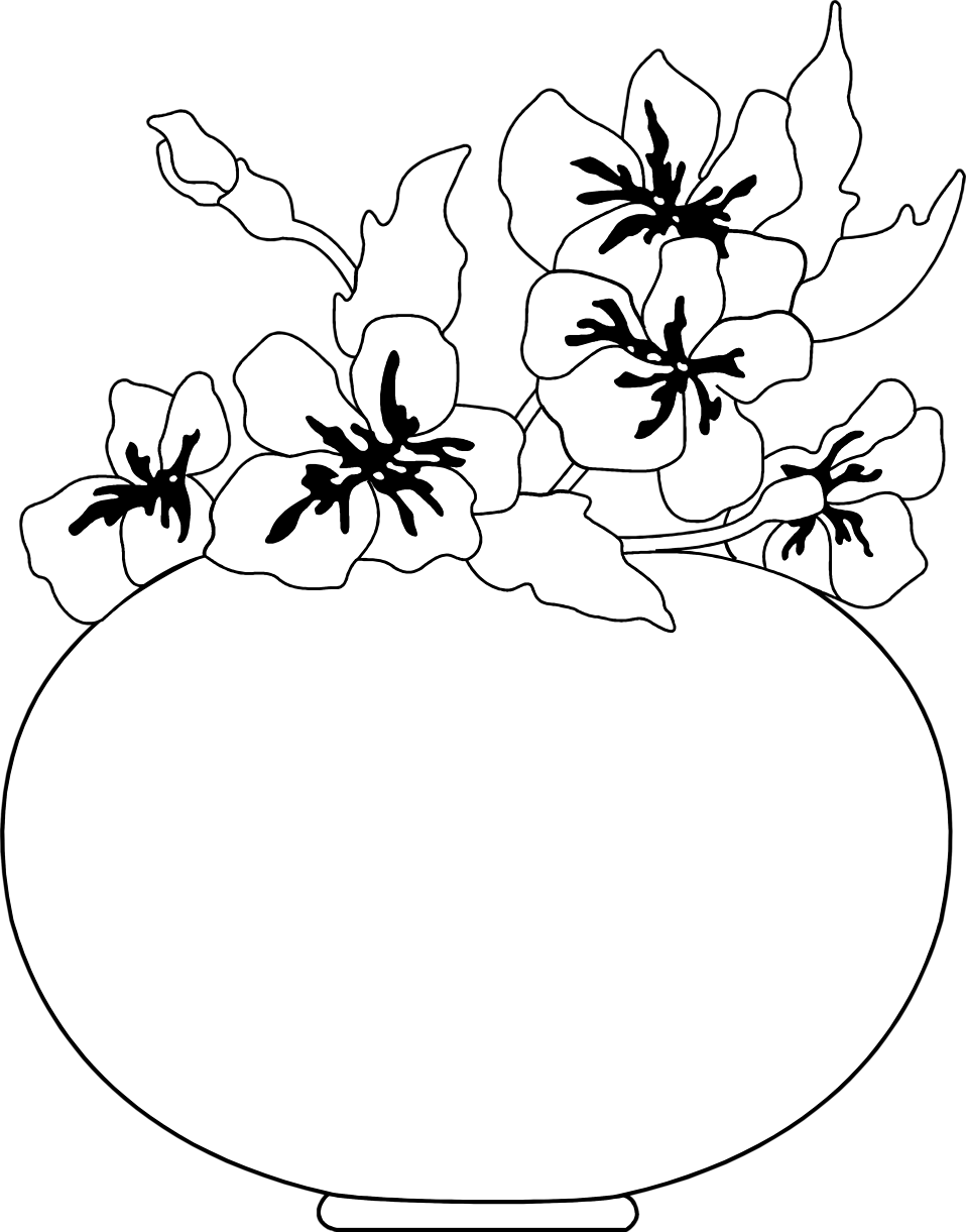Illustration of a round vase with flowers : Free Stock Photo