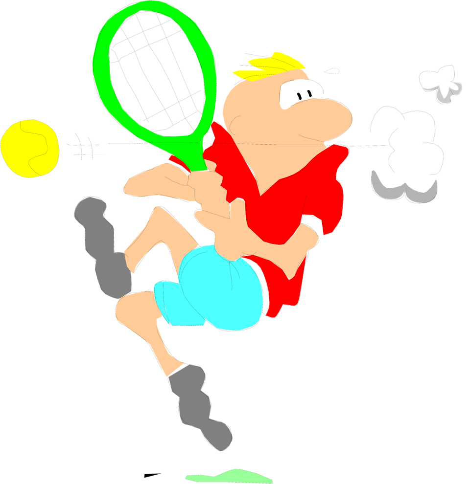 Illustration of a cartoon man playing tennis : Free Stock Photo