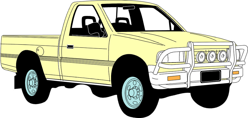 Illustration of a yellow pick-up truck : Free Stock Photo
