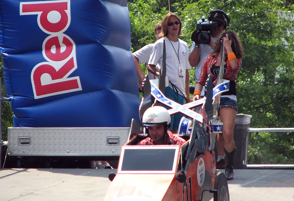 A race car starting at the 2009 Red Bull Soap Box Derby in Atlanta, Georgia.